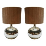 Image of 1980s Chrome Table Lamps With Bamboo Shades - a Pair For Sale