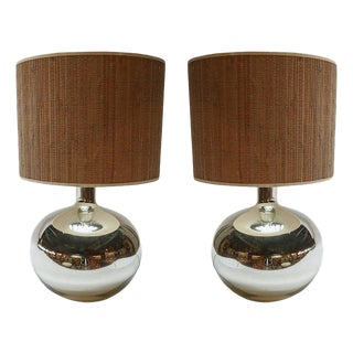 1980s Chrome Table Lamps With Bamboo Shades - a Pair For Sale