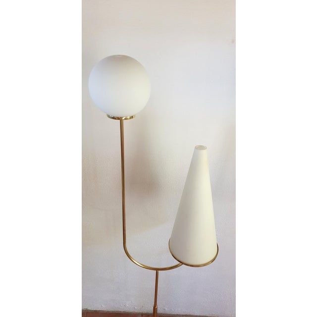 Large Mid-Century Modern Marble, Brass & Glass Floor Lamps, Italy 1960s - a Pair For Sale In Boston - Image 6 of 12