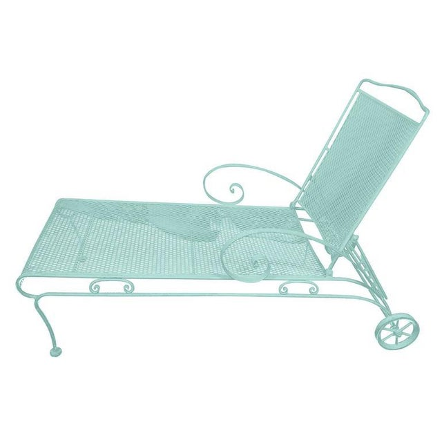 Russell Woodard Iron Mesh Steel Outdoor Chaise Lounge - Image 4 of 6