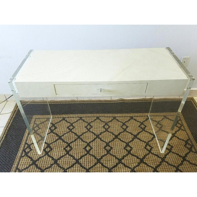 Faux Goat Skin Finish Lucite Wood Desk For Sale - Image 11 of 11