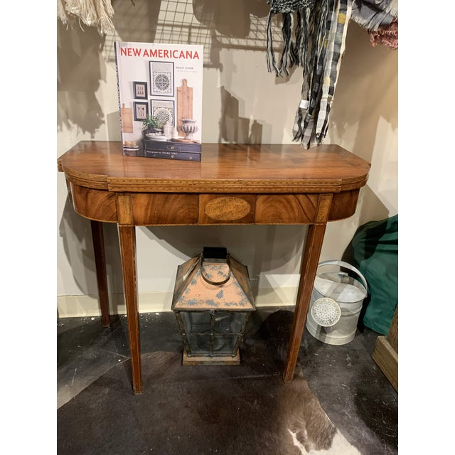 English George III Mahogany and Inlaid Fold-Top Console Table For Sale - Image 3 of 13