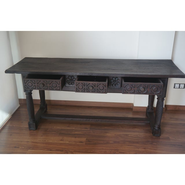 18th Spanish Baroque Carved Walnut Refectory Table For Sale - Image 4 of 10
