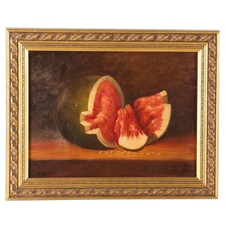 Vintage Mid-Century Watermelon on Canvas Gold Framed Oil Painting For Sale