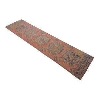 Distressed Oushak Runner Rug Hallway Decor - 2'9″ X 11'1″ For Sale