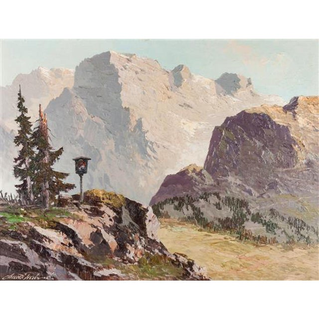 Large Framed Mountain Scene Oil Painting in Gilt Gold Frame For Sale - Image 4 of 13