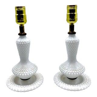 Mid-Century Fenton Hobnail Milk Glass Boudoir Lamps - A Pair