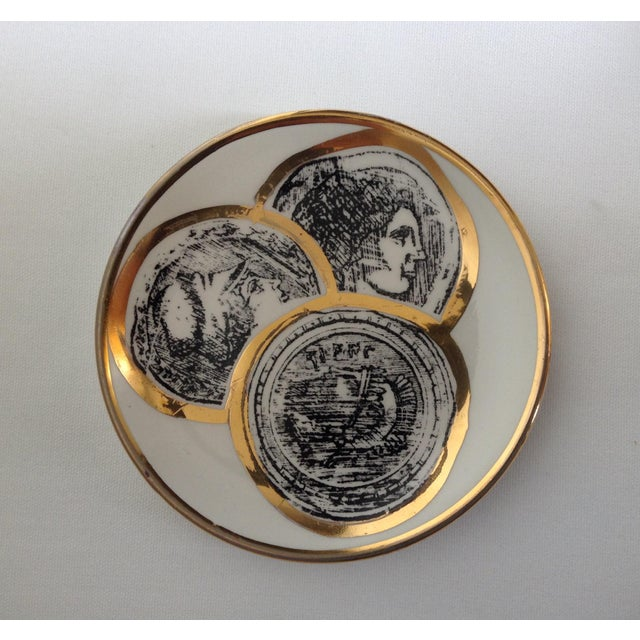 Fornasetti Italian Porcelain Gilt Roman Coin Drinks Coasters - Set 6 For Sale - Image 4 of 11