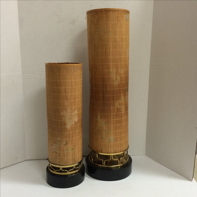 Mid Century Lamps, Painted Bamboo Shades - Pair - Image 2 of 11