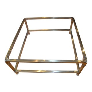 1970s Mid Century Modern Mastercraft Brass & Glass Square Coffee Table