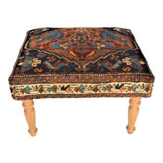 Antique Afshar Persian Rug Covered Bench or Ottoman. Rich Tones of Blue and Apricot For Sale