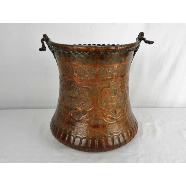 Gold Large Moorish Copper & Pewter Pail For Sale - Image 8 of 10