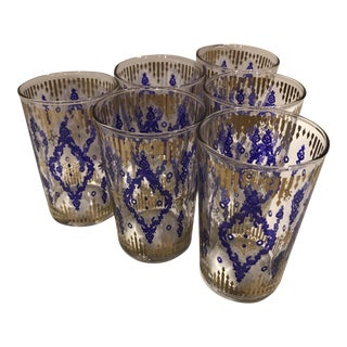 Mid-Century Blue and Gold Glasses - Set of 6 For Sale