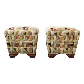 Art Deco Upholstered Stools or Benches, Pair For Sale