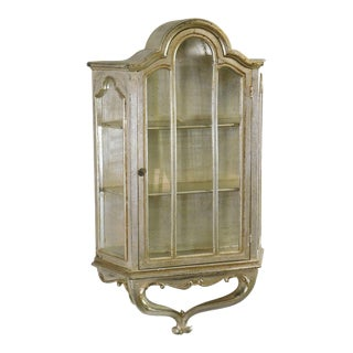 Venetian Style Vintage Silver Gilt Wood Hanging Curio Display Cabinet For Sale