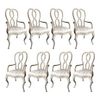 Set of 8 Grotto Style Italian Carved & Painted Armchairs For Sale