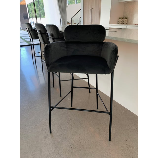 Contemporary Contemporary Charcoal Velvet Bar Stools - Set of 4 For Sale - Image 3 of 10