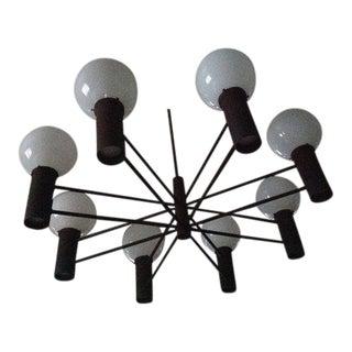1960s Minimalist Robert Long Design 8 Globe Architectural Chandelier For Sale