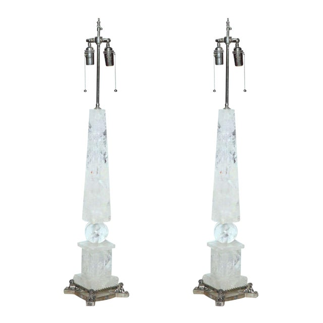 Pair of Rock Crystal and Silver Plated Lamps For Sale