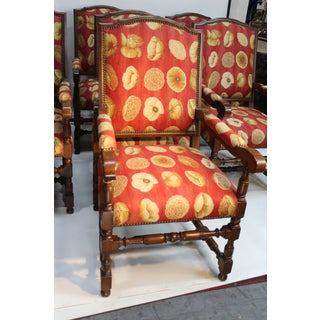 17th Century European Style Red Floral Fabric Dining Chairs - Set of 10 Preview