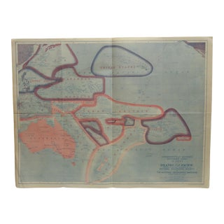 "1921 Vintage ""Sovereignty and Mandate Boundary Lines of the Pacific"" National Geographic Magazine Map For Sale"