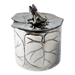 1980s Vintage Silver Plated Frog and Lily Pad Ice Bucket For Sale