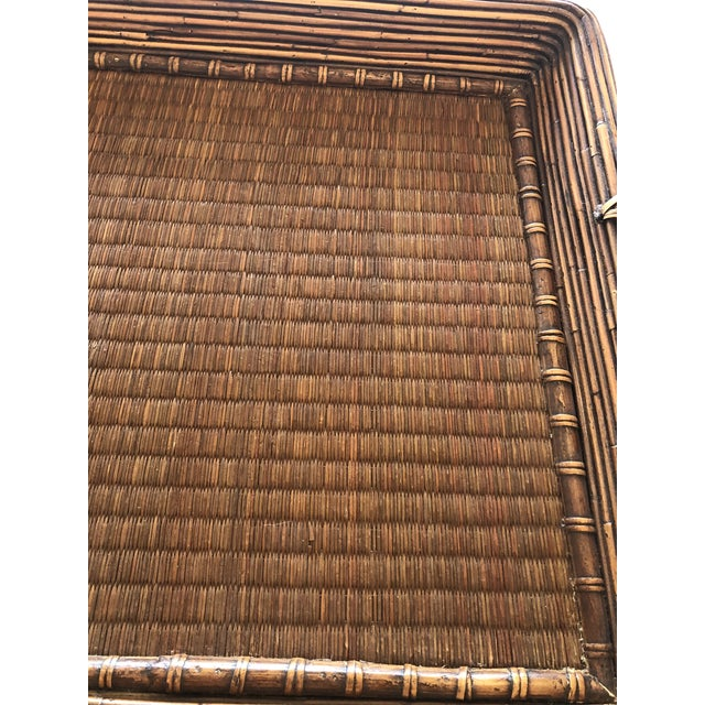 Brown Wood Wicker Rattan and Seagrass Handled Gallery Tray For Sale - Image 8 of 11