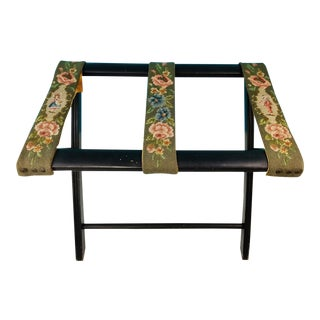 Vintage Floral Needlepoint Wood Luggage Stand