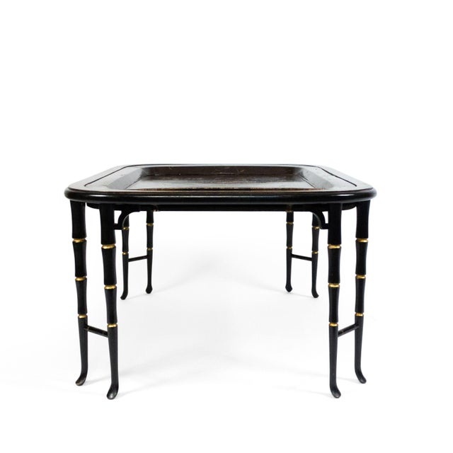 Brown English Regency Brown Lacquered Coffee Table For Sale - Image 8 of 10