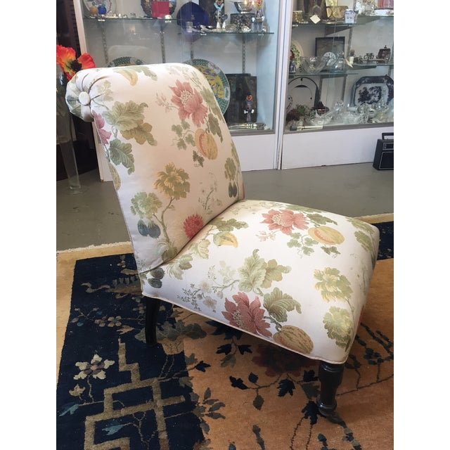 Vintage Updated Bedroom Slipper Chair with Beautiful Scalamandre Fabric. Re-done in the 1990s. Excellent antique and...