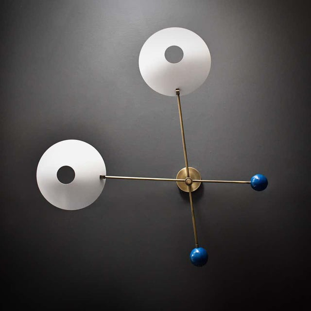 Modern Modern 2-Tier Catalonia Fixture in Enamel and Brass by Blueprint Lighting, Nyc For Sale - Image 3 of 5