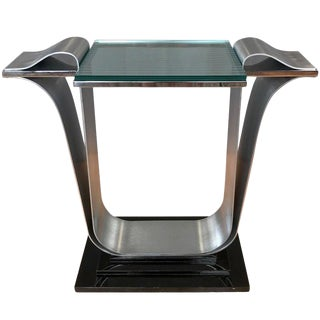 Jay Spectre for Century Furniture Polished and Brushed Steel Console Table For Sale
