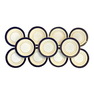 Ansley Blue and Gold Bone China Dinner Plates- Set of 11 For Sale