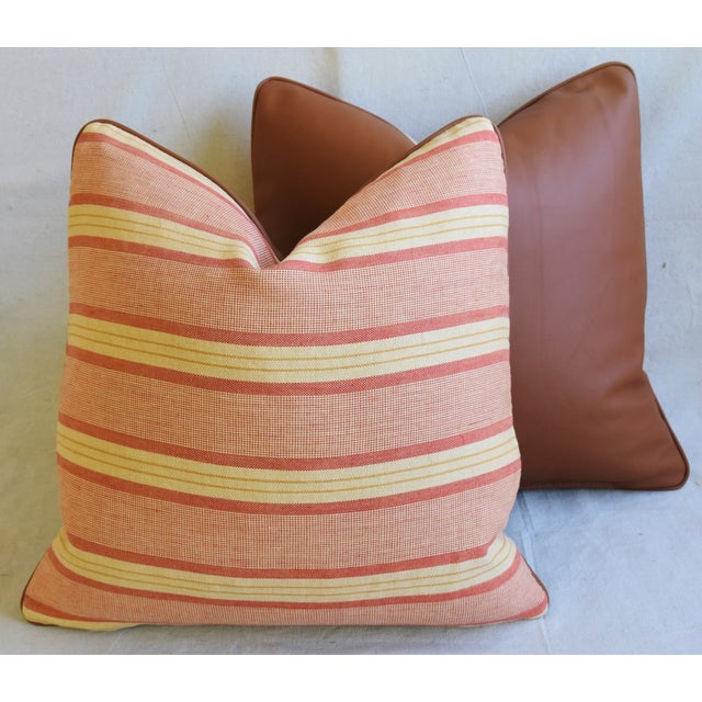 """Rogers & Goffigon & Leather Feather/Down Pillows 20"""" Square - Pair - Image 11 of 13"""