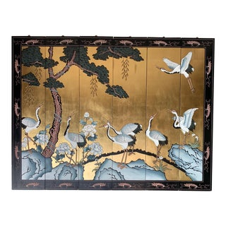 Vintage Chinese Gold Lacquer Six Panel Coromandel Screen With Cranes For Sale