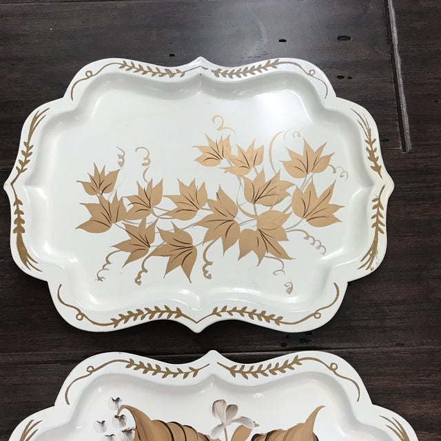 20th Century Cottage Hand Painted Tole Trays - Set of 4 For Sale - Image 4 of 6