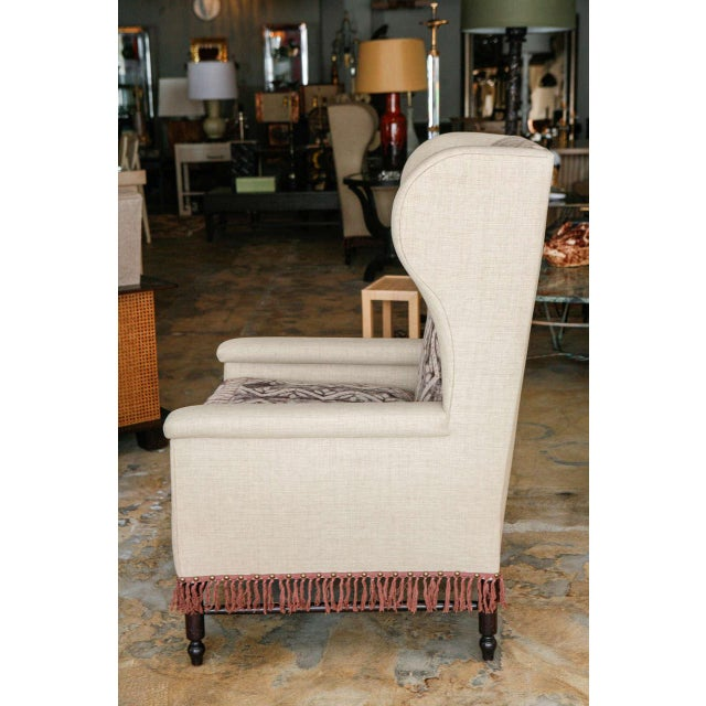 Contemporary Bohemian Wingback Pair Chairs Early 20th Century For Sale - Image 3 of 11