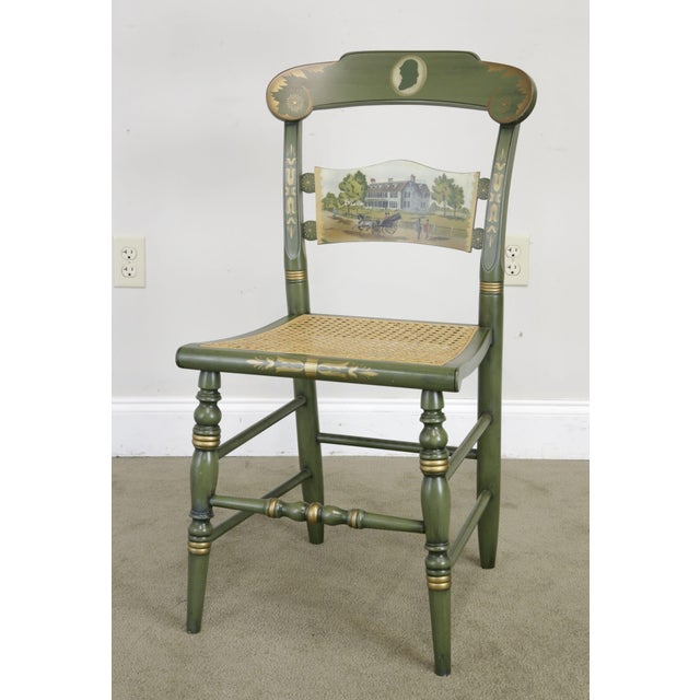 High Quality American Made Solid Wood Green Painted Cane Seat Side Chair by Hitchcock