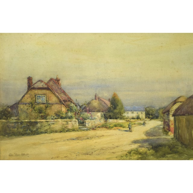 "Alexander MacBride (British,1859-1955) Village Scene, watercolor on paper, circa 1930s, signed lower left ""Alex'..."