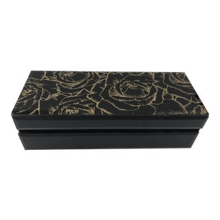 Gold Rose Black Mirrored Box For Sale