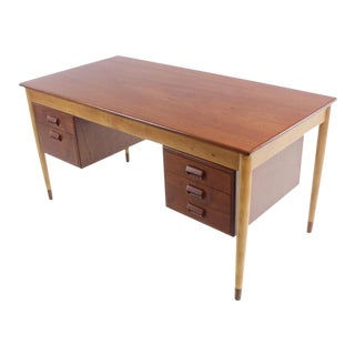 Scandinavian Modern Teak, Beech & Walnut Desk Designed by Borge Mogensen For Sale