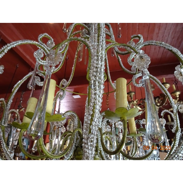 1900 - 1909 French Beaded Crystal Chandelier For Sale - Image 5 of 13