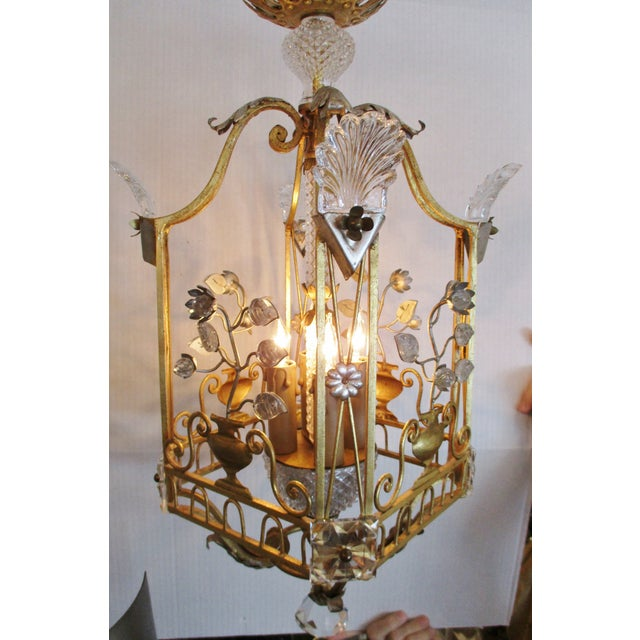 1970s Maison Bagues Style Crystal and Iron Gold and Silver Leaf Lantern Chandelier For Sale - Image 9 of 10