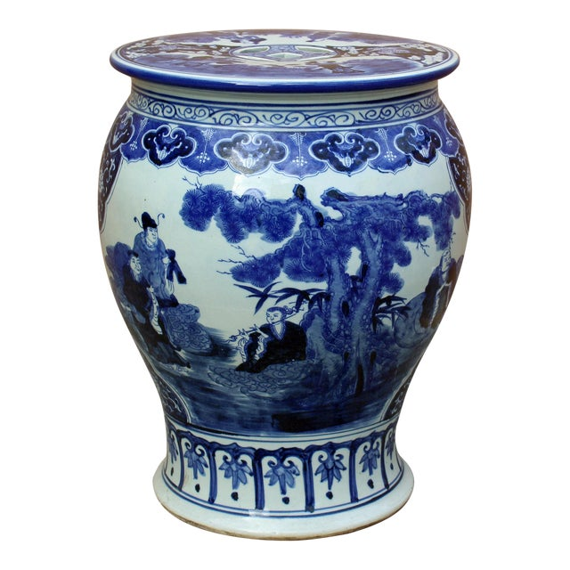 Chinese Blue & White Porcelain Eight Immortal Scenery Round Stool Table For Sale