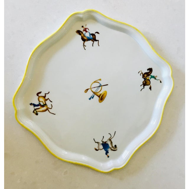 English Traditional Gio Ponti for Richard Ginori Equestrian Theme Porcelain Tray For Sale - Image 3 of 9