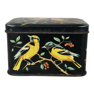 1930s Cottage Decorative Candy Tin With Birds For Sale