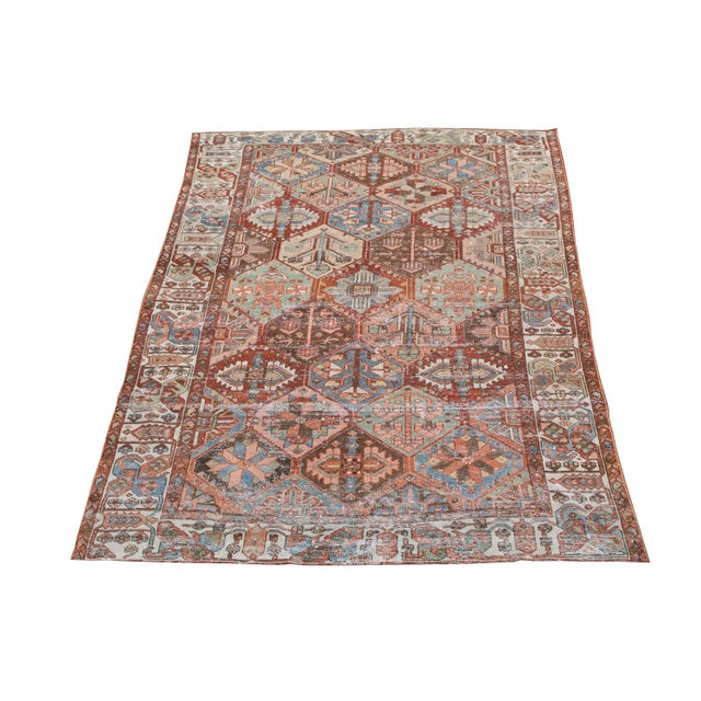 Early 19th Century Antique Persian Distressed Bakhtiari Rug - 6′7″ × 10′ For Sale - Image 5 of 5