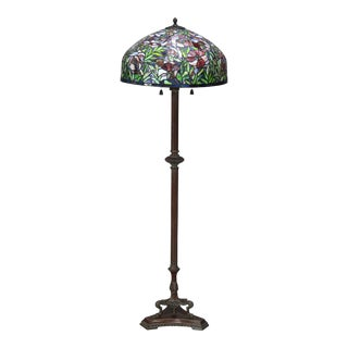 Vintage Arts & Crafts Tiffany Style Mosaic Leaded Glass Floor Lamp, 20th Century For Sale