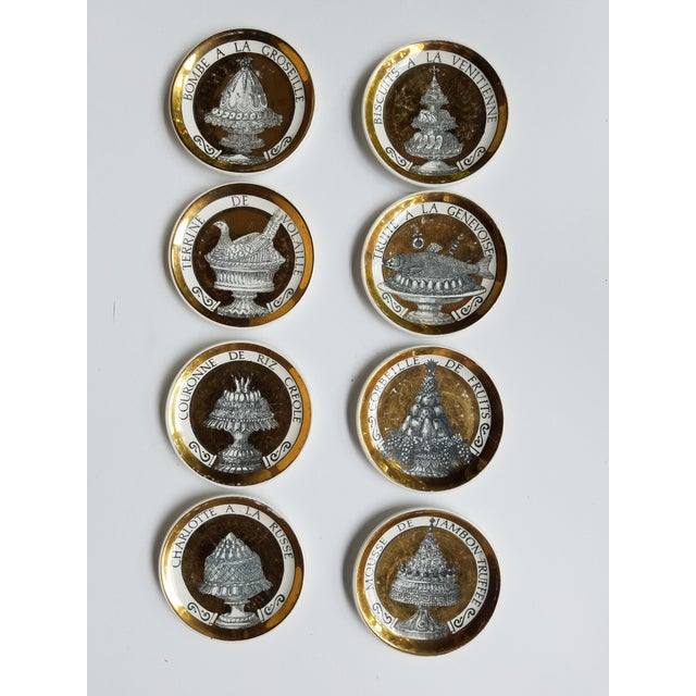 """1960's Piero Fornasetti Black and Gold Coasters """"Pranzo Alle Otto"""" - Set of 8 For Sale - Image 11 of 11"""