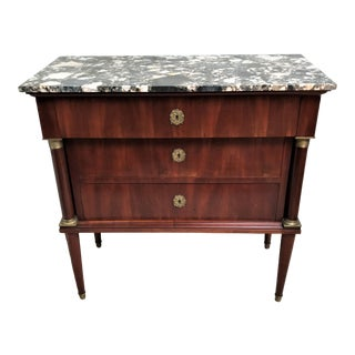 19th Century French Empire Revival Brass Mounted Mahogany & Marble Top Commode For Sale